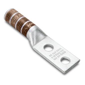 """Burndy YA2C2N Compression Lug, Copper, 2 Hole 1/2"""", Long Barrel, 2 AWG"""