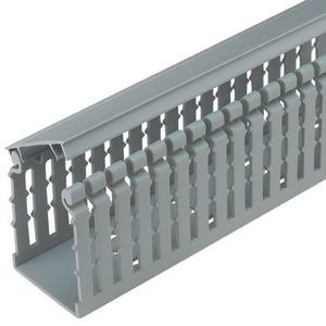 "Panduit HN4X4LG6 Hinged Cover Narrow Slot Wire Duct, 4"" W x 4"" H x 6' Long, Gray"