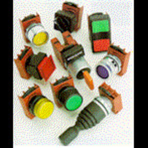 GE P9ASB3G Push Button, 22.5mm, Mushroom Cap, Yellow, Square, 29mm