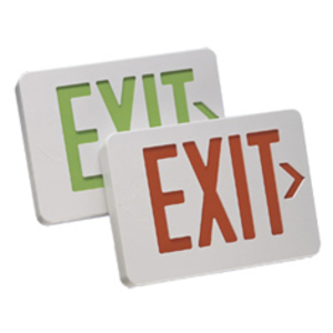 Mule MXAGU Exit Sign, LED, White, Green Letters, 120/277V