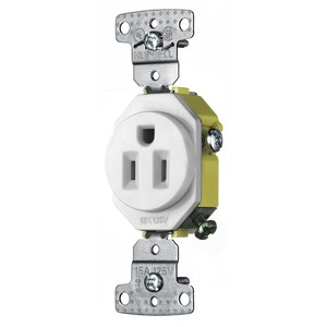 Hubbell-Bryant RR151W Single Receptacle, Residential, 15A, 125V, 2P3W, White