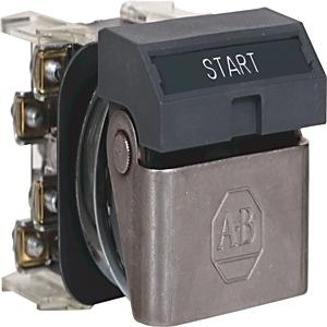 Allen-Bradley 800H-WK42A Push Button, Flip Lever Operator, Gray, START, 1NO/1NC, Contacts