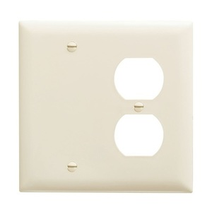 Pass & Seymour TP138-LA Wallplate, 2-Gang, Blank/Duplex, Nylon, Light Almond