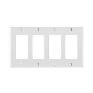 Leviton 80412-NW Decora Wallplate, 4-Gang, Nylon, White