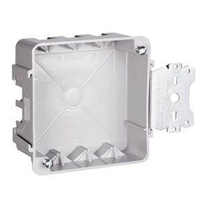 "Pass & Seymour S44-21-SAC 4"" Square Box with Bracket, Depth: 1-1/2"", Non-Metallic"