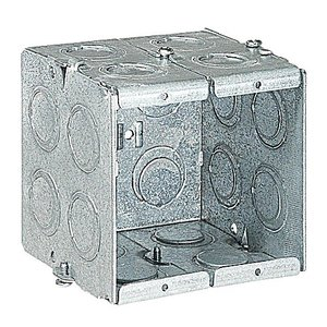 "Steel City GW-235-G Gang Box, 2-Gang, 3-1/2 Deep, 1/2"" and 3/4"" KOs, Steel"