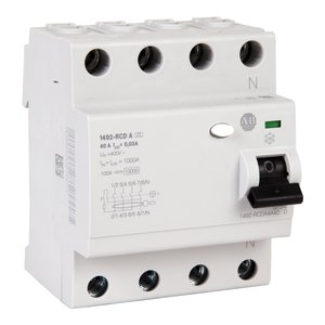 Allen-Bradley 1492-RCDA4A25 Breaker, Residual Current, 4P, 25A, 30mA Sensitivity
