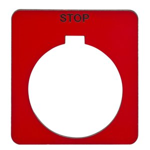 """Square D 9001KN202RP Legend Plate, 30mm, Square, Red, Black Text """"STOP"""""""