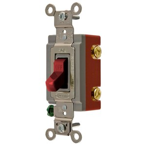 Hubbell-Kellems HBL1221R Toggle Switch, 1-Pole, 20A, 120/277V, Red
