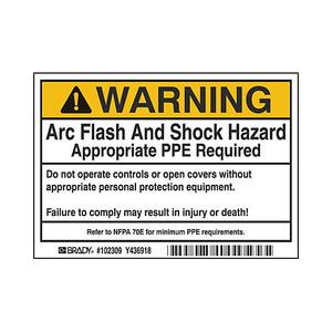 Brady 102309 B302 3.5x5 Blk/org/w 100/rl Flash&shock