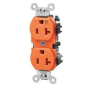 Leviton 5362-IG Duplex IG Receptacle, 20A, 125V, Orange, Heavy Duty, Back/Side Wired