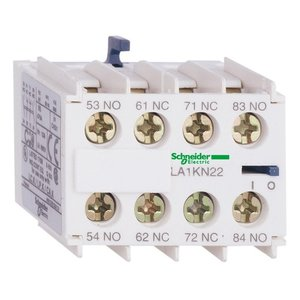Square D LA1KN22 Contactor, TeSys Type K, 4P, Auxiliary Contact Block, Screw Clamp