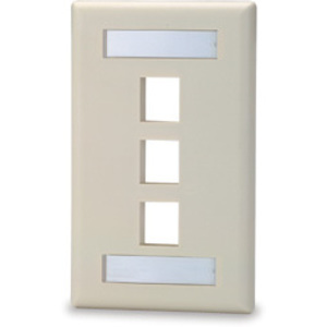 Signamax SKFL-3 3-Port Single-Gang Keystone Faceplate with Labeling Windows, Light Ivory