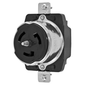 Hubbell-Kellems CS8369 Flush Mount Locking Receptacle, 50A, Black