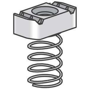 Power-Strut PSRS-1/4-EG Spring Nut, Long Spring, Size: 1/4-20, Steel/Electro-Galvanized