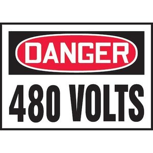 "Panduit PVS0305D3175 3.50"" x 5.00"" DANGER 480 VOLTS  5/PK"