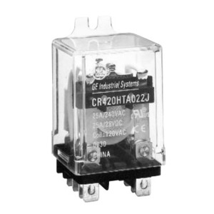 GE CR420HPC0334 Relay, Ice Cube, 11 Blade, 3PDT, 25A, 24VDC Coil, 240VAC Rated