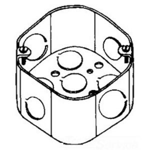 "Cooper Crouse-Hinds TP292 4"" Octagon Box, 2-1/8"" Deep, 1/2"" & 3/4"" KOs, Steel"