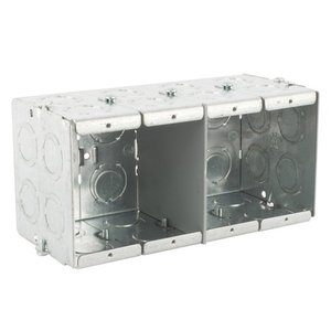 "Steel City GW-435-G Masonry Box, 4-Gang, 3-1/2"" Deep, 1/2"" & 3/4"" KOs, Steel"