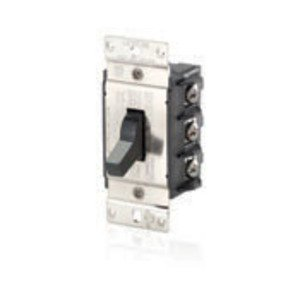 Leviton MS403-DS Manual Motor Switch, 40A, 600VAC, Toggle Style, 3P, Black