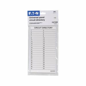 Eaton CKTDIR Load Center, Circuit Directory, 42 Circuit, 2 per Bag, Plastic