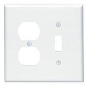 Leviton 80505-W Combo Wallplate, 2-Gang, Toggle/Duplex, Thermoset, White,  Midway
