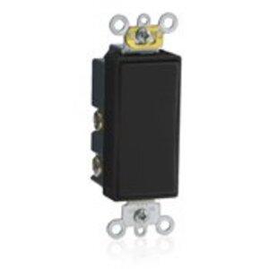 Leviton 5657-2E Decora Switch, 15A, 120/277V, Momentary, 1-Pole, Double Throw, Black