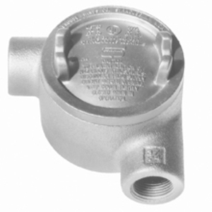 "Cooper Crouse-Hinds GUAD36 Conduit Outlet Box, Type GUAT, (2) 1"" Hubs, Malleable"