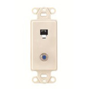 Leviton 40659-T Wallplate Insert, 2-Port, Telephone/Video, 6P4C, F-Connector, Almond