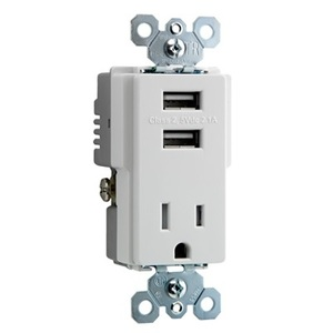 Pass & Seymour TM8-USBWCC6 Receptacle / USB Charger Combo, 15A, White