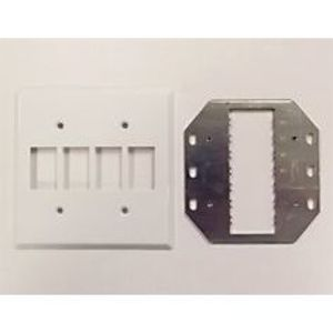 GE Lighting RP2-247 Toggle Switch Wallplate, 2-Gang, Nylon, White, Low Voltage