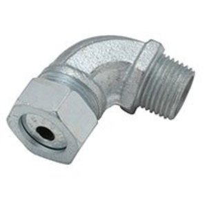 "Hubbell-Raco 3792-5 Cord Grip Connector, 90° Strain Relief, 1/2"", Steel"
