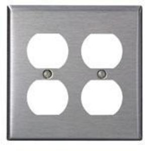 Leviton 84016-40 Duplex Receptacle Wallplate, 2-Gang, 302 Stainless Steel