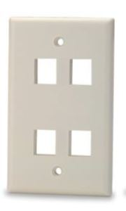Signamax SKFL-4-WH 4-Port Single-Gang Keystone Faceplate with Labeling Windows, White