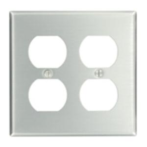 Leviton 83016 Duplex Receptacle Wallplate, 2-Gang, Aluminum