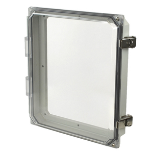 "Allied Moulded AMHMI120CCL Enclosure, Type 4x, Hinged Cover, 12"" x 10"" x 2-1/4"""