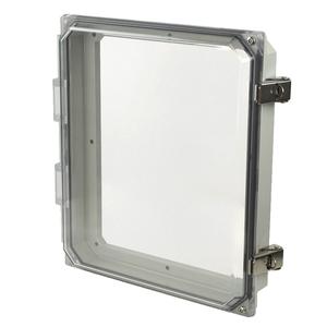 "Allied Moulded AMHMI120CCL Enclosure, NEMA 4X, Hinged Window Cover, 12"" x 10"" x 2-1/4"", Polycarbonate"