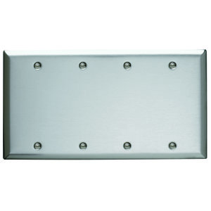 Pass & Seymour SS43 Blank Plate, Box Mounted, 4-Gang, Stainless Steel