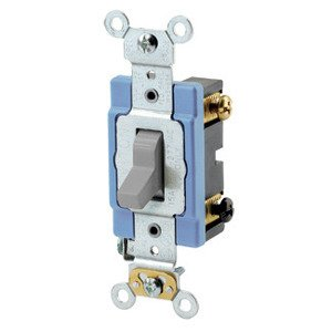 Leviton 1203-2GY 3-Way Toggle Switch, 15A, 120/277V, Gray, Industrial Grade