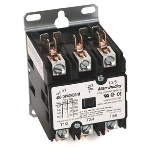 Allen-Bradley 400-DP40ND3 Contactor, Definite Purpose, 40A, 3P, 120VAC Coil, 600VAC Rated