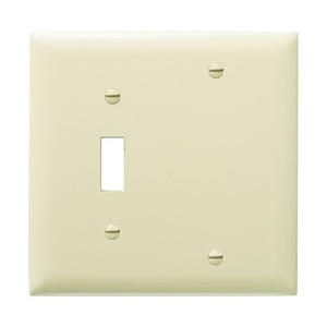 Pass & Seymour TP113-I Wallplate, 2-Gang, Toggle/Blank, Nylon, Ivory