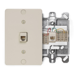 Leviton 40253-I Jack, 6 Position, 4 Conductor, Ivory, Surface Mount