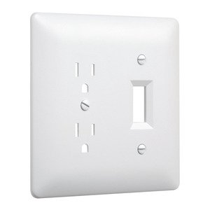 Hubbell-TayMac 2400W 2-Gang MASQUE® 2000 Wallplate, Duplex/Toggle, White