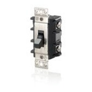 Leviton MS302-DSS Manual Motor Switch, 30A, 600VAC, Short Toggle Style, 2P, Black