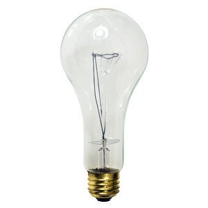 Damar 06092C Incandescent Bulb, Rough Service, A23, 200W, 130V, Clear
