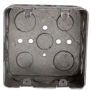 "Steel City 2G4D-1/2-3/4 4"" Square Box, Welded, Metallic, 2-1/8"" Deep"