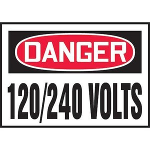 "Panduit PVS0305D3167 3.50"" x 5.00"" Danger, 120/240 VOLTS  5/P"