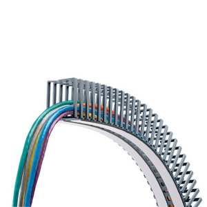 "Panduit FL25X25LG-A Flexible Wiring Duct, .98"" x .98"" x 19.7"", Polypropylene, Gray"