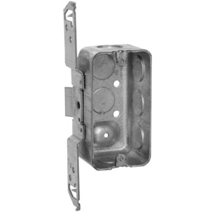 "Hubbell-Raco 662 Handy Box, Depth: 1-7/8"", 1/2"" KOs, TS Bracket, Drawn, Metallic"