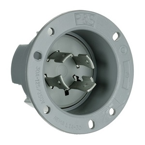 Pass & Seymour L1430-FI Flanged Inlet, 30A, 125/250, Gray